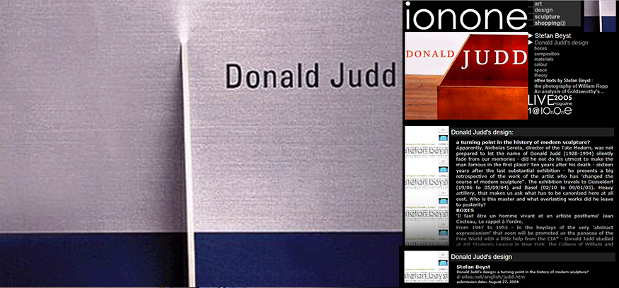ionone world | design | Stefan Beyst - Donald Judd's design - a turning point in the history of modern sculpture?