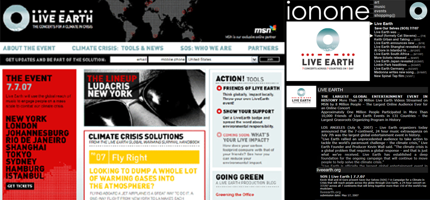 ionone world | music | Live Earth  - Save Our Selves (SOS) 7/7/07